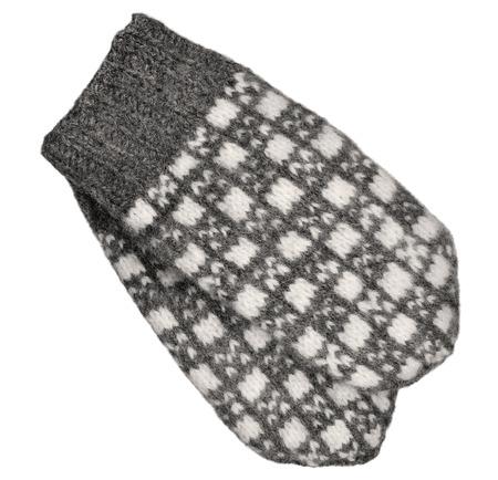 fingerless gloves: Gray mitten pair isolated, grey white textured woolen mittens pattern, knitted warm wool winter fingerless gloves detail, large detailed vintage texture macro closeup