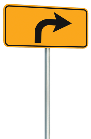metal pole: Right turn ahead route road sign perspective, yellow isolated roadside traffic signage, this way only direction pointer, black arrow frame roadsign, grey pole post