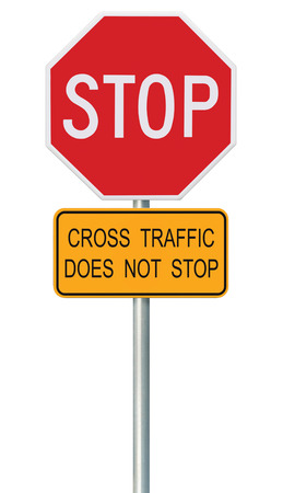 isolated sign: Red Stop Sign, Isolated Traffic Regulatory Warning Signage Octagon, White Octagonal Frame, Metallic Post, Yellow Cross Traffic Does Not Stop Text, Large Detailed Vertical Closeup