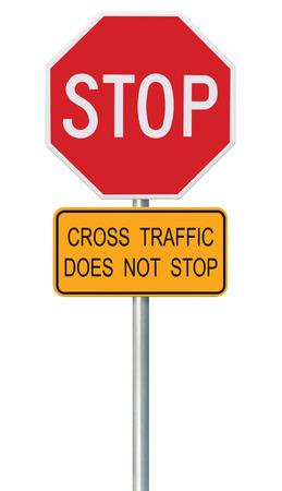 octogonal: Rojo Señal de stop, aislado Reguladora de Tráfico Advertencia Señalización Octagon, Marco Blanco octagonal, Metálico Post, amarillo tráfico cruzado no dejar de texto, Grande detallada Primer Vertical