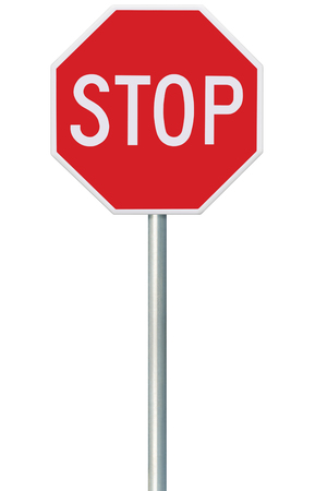 isolated sign: Red Stop Sign, Isolated Traffic Regulatory Warning Signage Octagon, White Octagonal Frame, Metallic Post, Large Detailed Vertical Closeup