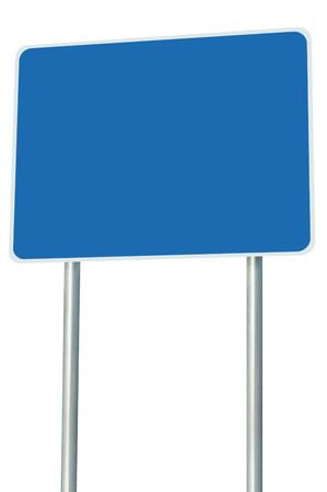 adboard: Blank Blue Road Sign Isolated, Large Perspective Copy Space, White Frame Roadside Signpost Signboard Pole Post Empty Traffic Signage Stock Photo