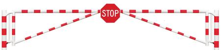octogonal: Cerrada carretera Barrera Primer, octogonal señal de Stop, camino Gate Bar En Blanco brillante y rojo, Tráfico Entrada Detener Bloque y Vehículo de Seguridad Punto de puerta de enlace, Recinto Cerrado Aislado Camino de entrada Checkpoint, Halt Octagon Roadsign Señalización Advertencia Símbolo, Restringido Foto de archivo