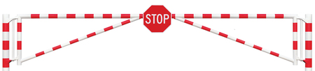 octagonal: Gated Road Barrier Closeup, Octagonal Stop Sign, Roadway Gate Bar In Bright White And Red, Traffic Entry Stop Block And Vehicle Security Point Gateway, Gated Isolated Closed Way Entrance Checkpoint, Halt Octagon Roadsign Signage Warning Symbol, Restricted
