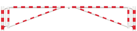 gated: Gated Road Double Traffic Barrier Panorama Closeup, Roadway Gate Bar In Bright White And Red, Entry Stop Block And Vehicle Security Point Gateway, Panoramic Gated Isolated Closed Way Entrance Checkpoint, Locked Restricted Area Blocker Padlock