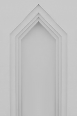 faux: Beige grey plastered faux arch, false fake window or door stucco frame, textured background, large detailed vertical blank empty copy space, gray bright texture, gentle shadows