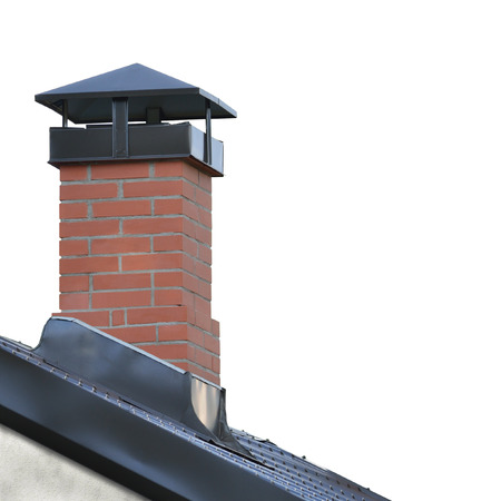 sheet metal: Red Brick Chimney, Grey Steel Tile Roof Texture, Gray Tiled Roofing, Large Detailed Isolated Vertical Closeup, Modern Residential House Rooftop Tiles Detail Textured Pattern, Copy Space