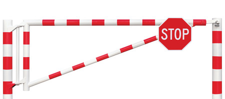 road block: Gated Road Barrier Closeup, Octagonal Stop Sign, Roadway Gate Bar In Bright White And Red, Traffic Entry Stop Block And Vehicle Security Point Gateway, Gated Isolated Closed Way Entrance Checkpoint, Halt Octagon Roadsign Signage Warning Symbol, Restricted