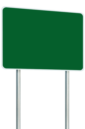 adboard: Blank Green Signboard Road Sign Isolated Large Perspective Copy Space, White Frame Roadside Signpost Pole Post Empty Traffic Signage, White Frame