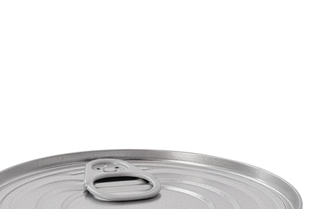 preserve: Tin Can Lid, Food Preserve Ringpull Canister Sealed Top, Large Detailed Isolated Macro Closeup, Blank Empty Copy Space