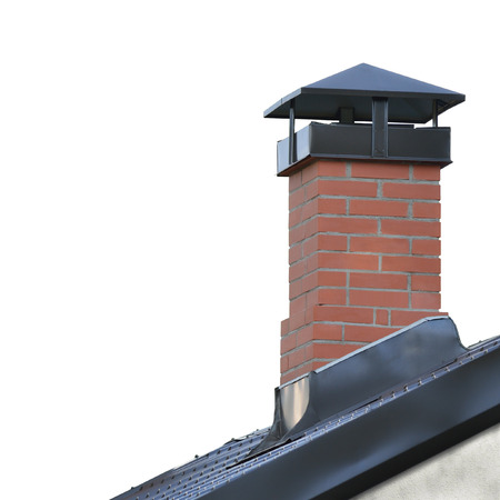 Red Brick Chimney, Grey Steel Tile Roof Texture, Gray Tiled Roofing, Large Detailed Isolated Vertical Closeup, Modern Residential House Rooftop Tiles Detail Textured Pattern, Copy Space