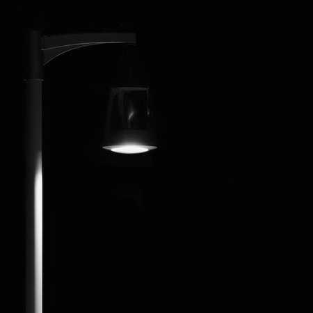 lamp on the pole: Bright Lit Outdoor Lantern Lamp Pole Post, Lonely Concept Solitude Metaphor, Illuminated Window Light, Vertical Deserted Night Park Scene Closeup, Black Isolated Copy Space Background