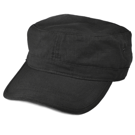 kepi: Field patrol cap macro closeup, isolated large detailed black rip-stop NYCO nylon cotton police SWAT security guard kepi fabric texture, crumpled, wrinkled textured ripstop soft clothing pattern, stiff rounded visor, flat top