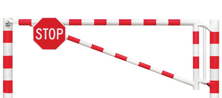 entrance gate: Gated Road Barrier Closeup, Octagonal Stop Sign, Roadway Gate Bar In Bright White And Red, Traffic Entry Stop Block And Vehicle Security Point Gateway, Gated Isolated Closed Way Entrance Checkpoint, Halt Octagon Roadsign Signage Warning Symbol, Restricted