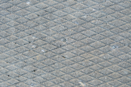 grooved: Old grey weathered concrete plate, rough grunge abstract cement tile texture diagonal groove pattern macro closeup, diagonally grooved large detailed horizontal textured gray footbridge walkway background, natural rustic grungy stained vintage sidewalk pa