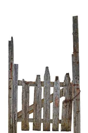 aged wood: Old Aged Weathered Rural Ruined Grey Wooden Gate, Isolated Gray Wood Garden Fence Entrance Gateway, Large Detailed Vertical Closeup