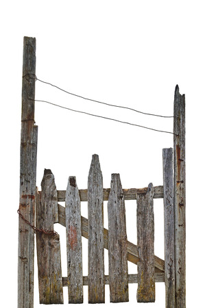 isolated on gray: Old Aged Weathered Rural Ruined Grey Wooden Gate, Isolated Gray Wood Garden Fence Entrance Gateway, Large Detailed Vertical Closeup