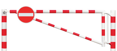 road traffic: Gated Road Barrier Closeup, No Entry Sign, Roadway Gate Bar In Bright White And Red, Traffic Stop Block And Vehicle Security Point Gateway, Gated Isolated Closed Way Entrance Checkpoint, Halt Roadsign Signage Warning Symbol, Restricted Area Blocker