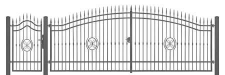 puertas de hierro: Forjado decorativo peatones y el transporte mansi�n puerta de entrada detalle de la vendimia, aislado grande horizontal detallada gris oscuro silueta de portarretrato, forjado reticular de la flor de lis del hierro Foto de archivo