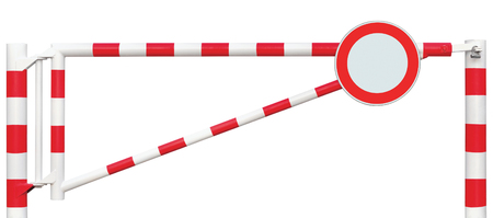 gated: Gated Road Barrier Closeup, Round No Vehicles Sign, Roadway Gate Bar In Bright White And Red, Traffic Entry Stop Block And Vehicle Security Point Gateway, Gated Isolated Closed Way Entrance Checkpoint, Halt Roadsign Signage Warning Symbol, Restricted Area