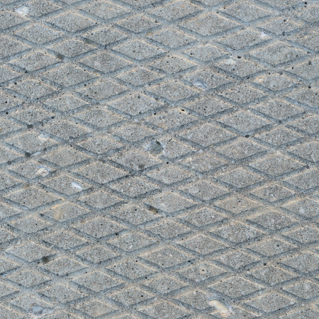 grooves: Old grey weathered concrete plate, rough grunge abstract cement tile texture diagonal groove pattern macro closeup, diagonally grooved large detailed horizontal textured gray footbridge walkway background, natural rustic grungy stained vintage sidewalk pa