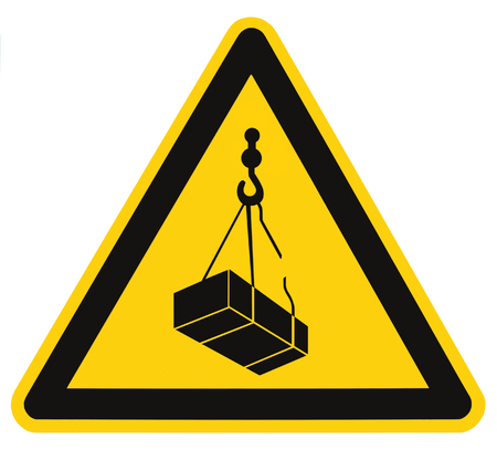 overhead crane: Danger overhead, crane load falling hazard risk sign, cargo icon signage, isolated black triangle over yellow, large macro closeup