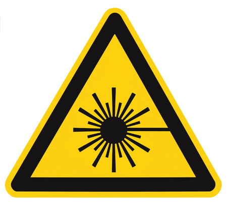 Laser radiation hazard safety danger warning text sign sticker label, high power beam icon signage, isolated black triangle over yellow, large macro closeup Stockfoto