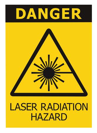 radiation hazard sign: Laser radiation hazard safety danger warning text sign sticker label, high power beam icon signage, isolated black triangle over yellow, large macro closeup Stock Photo