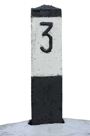 rail route: Railroad Route Rail Line Mile Marker In Black And White, Isolated Railway Number 3 Distance Kilometer Milestone Mark Close-up, Grunge Old Weathered Aged Painted Concrete Roadside Kilometre Sign, Large Detailed Grungy Vertical Paint Closeup