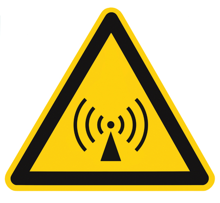 Non-ionizing radiation hazard safety area, danger warning sign sticker label, large icon signage, isolated black triangle over yellow, macro closeup