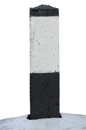 kilometre: Railroad Route Rail Line Mile Marker In Black And White, Blank Empty Isolated Railway Distance Kilometer Milestone Mark Close-up, Grunge Old Weathered Aged Painted Concrete Roadside Kilometre Sign, Large Detailed Grungy Vertical Paint Closeup Copy Space B