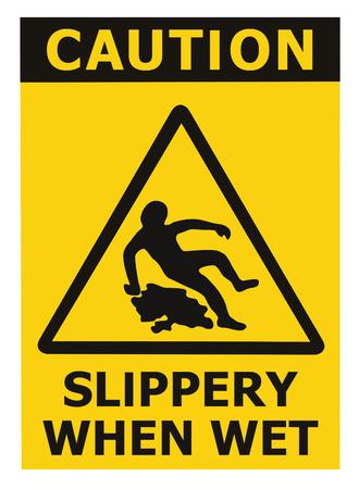 주의 미끄러운 때 젖은 텍스트 서명, 삼각형 안전 아이콘 표지판을 경고 검은 색 노란색 절연 층의 표면적 위험, 대형 자세한 스티커 라벨 매크로 근접 촬영