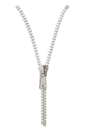 zipper: Open grey beige zipper pull concept unzip metaphor, isolated macro closeup detail, large detailed partially opened half zippered blank empty copy space, unzipped background, vertical studio shot