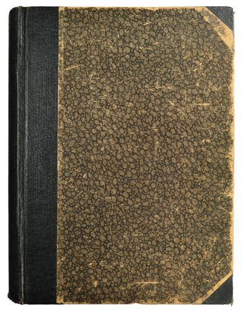 Grunge Vintage Book Hard Cover, Blank Empty Antique Ornamental Textured Abstract Background Pattern, Old Aged Vertical Stained Texture, Beige, Brown, Black, Sepia, Isolated Half Binding Linen Cloth Spine, Retro Pastepaper Sides, Half-style Paper Bound, He Stock Photo