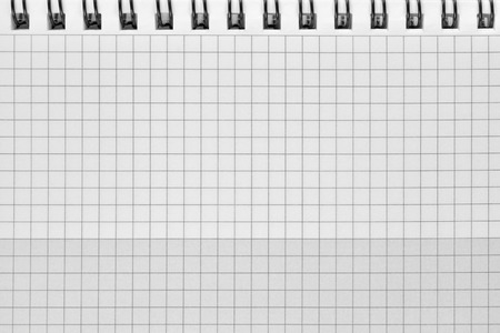stapled: Checked spiral notebook background pattern, horizontal chequered squared open notepad copy space, stapled blank empty blocknote, reminder concept metaphor, large detailed macro closeup
