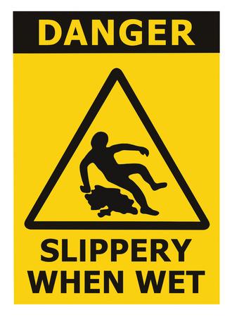 주의 미끄러운 때 젖은 텍스트 서명, 삼각형 안전 아이콘 표지판을 경고 검은 색 노란색 절연 층의 표면적 위험, 대형 자세한 스티커 라벨 매크로 근접  스톡 콘텐츠