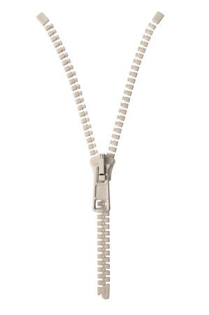 Open creamy white ivory zipper pull concept unzip metaphor, isolated macro closeup detail, large detailed partially opened half zippered blank empty copy space, unzipped background, vertical studio shot