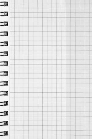stapled: Checked spiral notebook background pattern, vertical chequered squared open notepad copy space, stapled blank empty blocknote, reminder concept metaphor, large detailed macro closeup