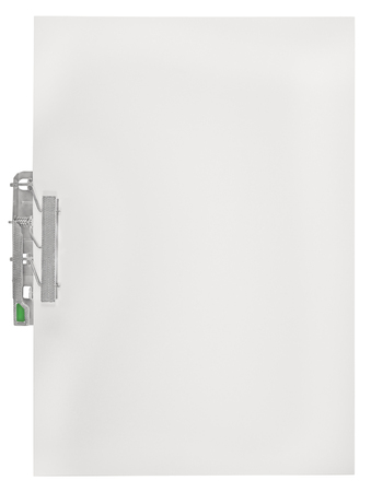 communication metaphor: Vertical clipboard, blank empty isolated white paper file copy space sheet texture background, large detailed closeup, communication concept metaphor