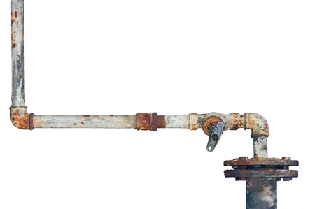 corrode: Old rusty pipes, aged weathered isolated grunge rust iron pipeline and plumbing connection joints, industrial tap fittings, faucets, valve, large detailed horizontal closeup Stock Photo