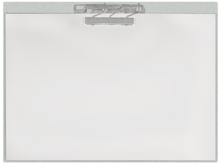 communication metaphor: Horizontal clipboard, blank empty isolated white paper file copy space sheet texture background, large detailed closeup, communication concept metaphor