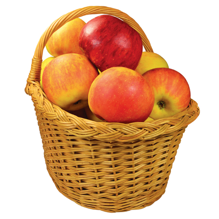 ripe: Fresh ripe apple fruits wicker basket, large detailed isolated closeup, red-ripe juicy fruit detail, studio shot, healthy eating lifestyle concept metaphor