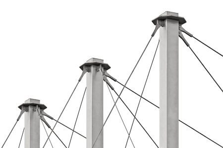 swooping: Tied Suspension Roof Cables, Three Tall Grey Isolated Masts, Cable-suspended Swooping Rooftop Pylon Anchors, Pale Blue Summer Sky, Large Detailed Horizontal Closeup, Contemporary Construction Concept
