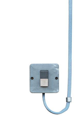 normal distribution: Outdoor electric equipment control industrial button power switch closeup, isolated old aged weathered grungy blue wire cable large vertical copy space Stock Photo