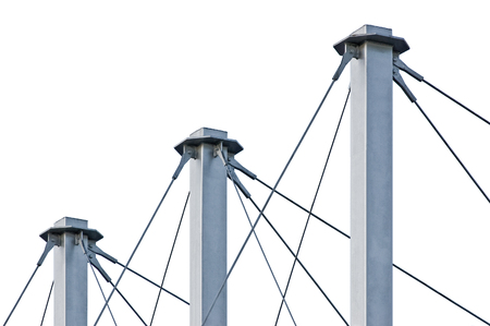 swooping: Tied Suspension Roof Cables, Three Tall Grey Isolated Masts