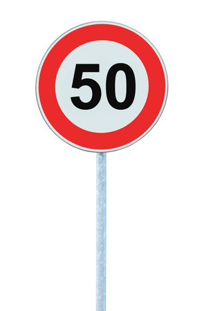 kilometre: Speed Limit Zone Warning Road Sign, Isolated Prohibitive 50 Km Kilometre Kilometer Maximum Traffic Limitation Order, Red Circle, Large Detailed Closeup Stock Photo