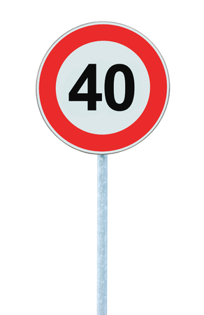 kilometre: Speed Limit Zone Warning Road Sign, Isolated Prohibitive 40 Km Kilometre Kilometer Maximum Traffic Limitation Order, Red Circle, Large Detailed Closeup Stock Photo