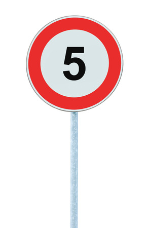 kilometre: Speed Limit Zone Warning Road Sign, Isolated Prohibitive 5 Km Kilometre Kilometer Maximum Traffic Limitation Order, Red Circle, Large Detailed Closeup Stock Photo