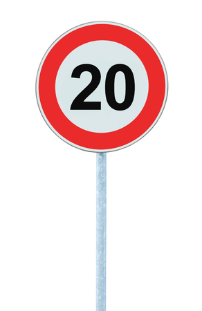 kilometre: Speed Limit Zone Warning Road Sign, Isolated Prohibitive 20 Km Kilometre Kilometer Maximum Traffic Limitation Order, Red Circle, Large Detailed Closeup