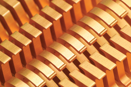 Copper CPU or GPU Cooler Heat Sink Macro Closeup, Large Detailed Horizontal Background Textured Pattern Abstract, Yellow, Gold, Golden, Gentle Bokeh Heatsink Texture Detail  Stock Photo